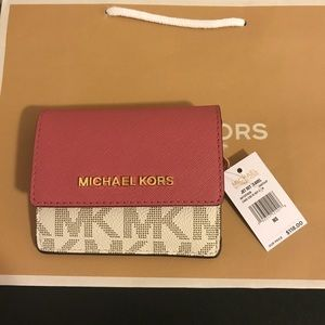 Michael Kors JetSet Travel CardCase ID RING WALLET
